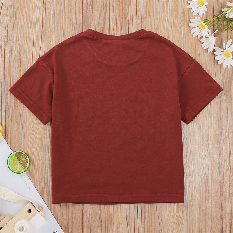 Girls Letter Printed Short Sleeve Tops children clothing vendors