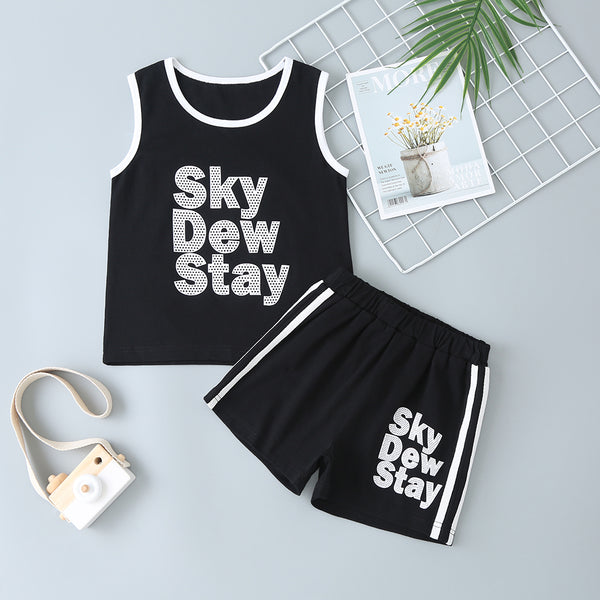 Boys Letter Printed Sleeveless Casual Top & Shorts wholesale childrens clothing online