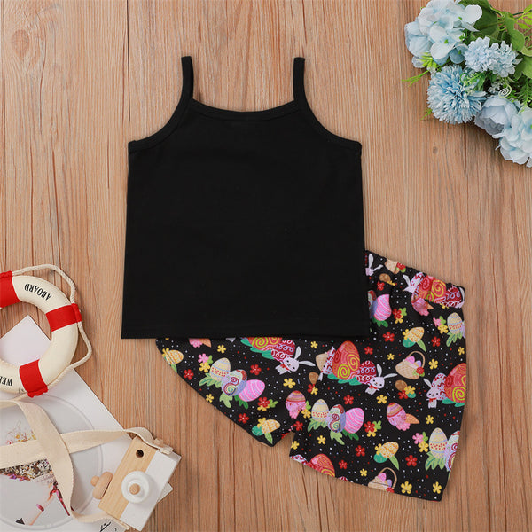 Girls Letter Printed Sleeveless Top & Cartoon Printed Shorts Kids Clothing Suppliers