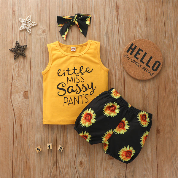 Girls Letter Printed Sleeveless Top & Sunflower Shorts & Headband Cheap Baby Clothes In Bulk