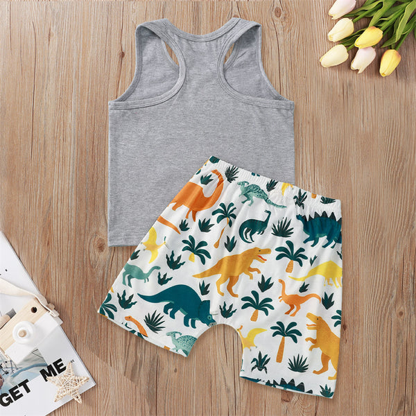 Boys Letter Printed Sleeveless Top & Tree Printed Shorts Toddler 2 Piece Swimsuit