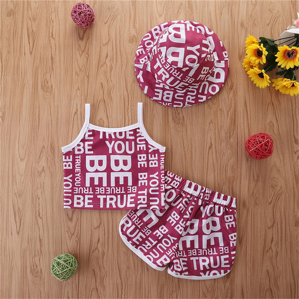 Girls Letter Printed Sling Top & Shorts & Hat children wholesale clothing