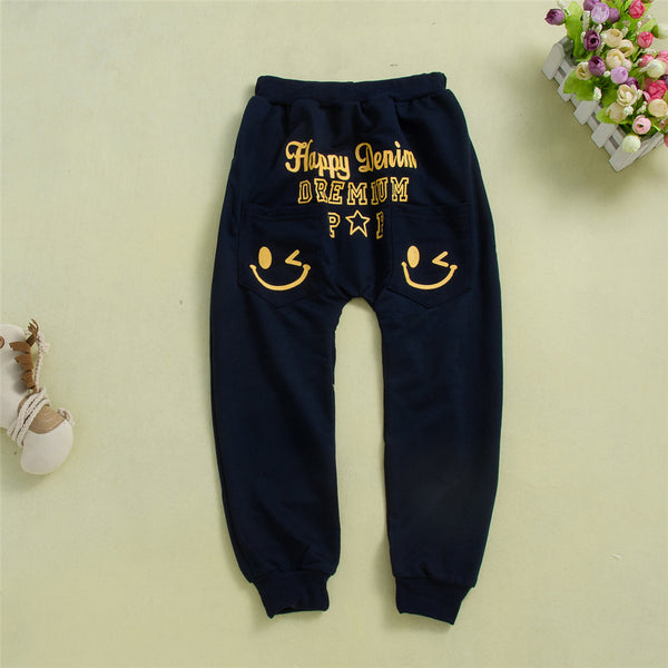 Boys Letter Printed Smiley Pants Boys Wholesale Clothing