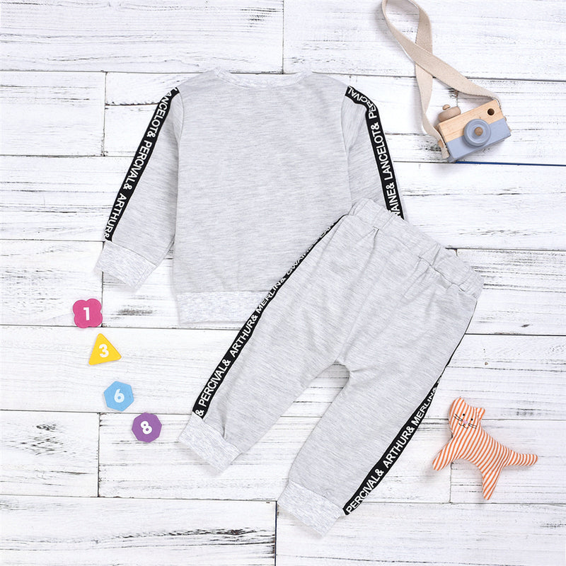 Boys Letter Printed Solid Casual Tops & Pants Boy Clothes Wholesale