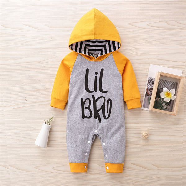 Baby Boys Letter Printed Striped Hooeded Romper Wholesale Clothing Baby