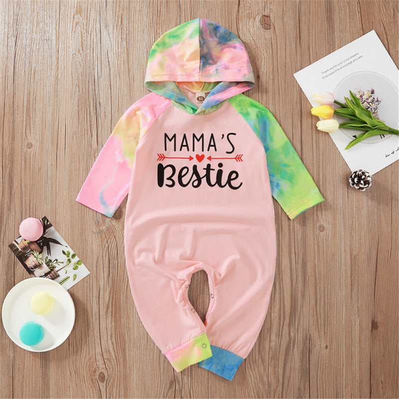 Baby Girls Letter Printed Tie Dye Hooded Long Sleeve Romper Wholesale Baby