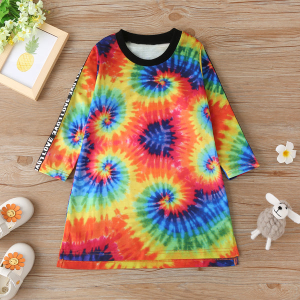 Toddler Girls Letter Printed Tie Dye Long Sleeve Girls Wholesale Dresses