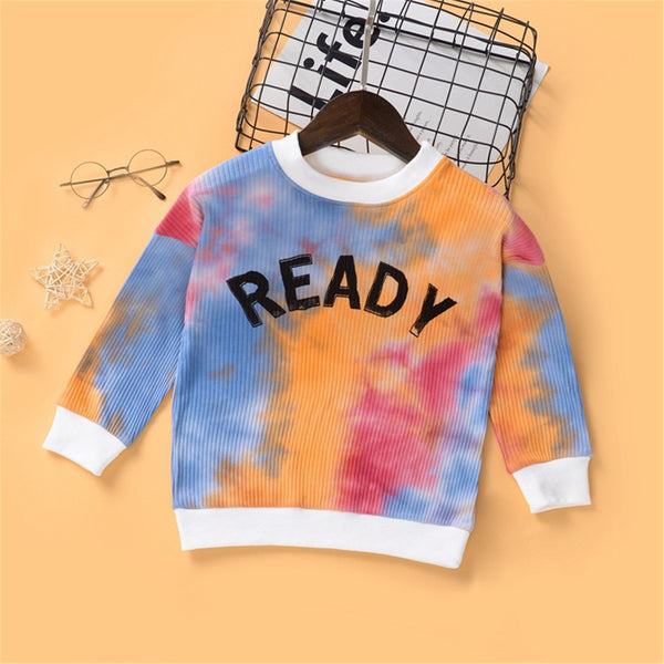 Girls Letter Printed Tie Dye Long Sleeve T-shirt Cheap Childrens Clothes Wholesale