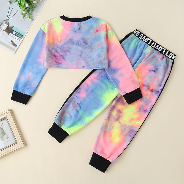 Girls Letter Printed Tie Dye Long Sleeve Tops & Pants Wholesale