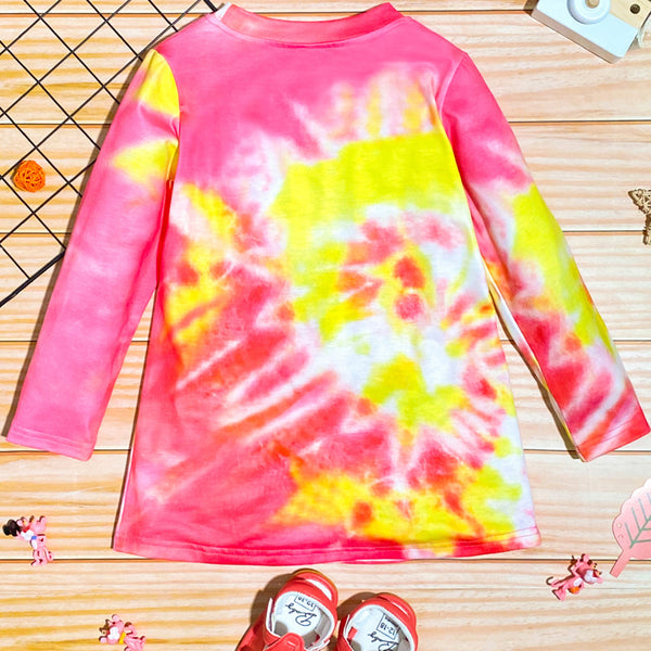 Girls Letter Printed Tie Dye Long T-shirt Wholesale Girls Clothes