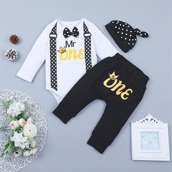Baby Boys Letter Printed Tie Romper & Pants & Hat Baby Wholesale