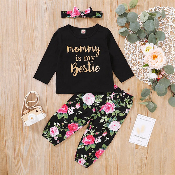 Baby Girls Letter Printed Top & Floral Pants & Headband Baby Wholesale