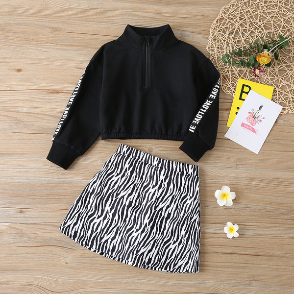 Girls Letter Printed Zipper Turtleneck Tops & Skirt Wholesale Girl Clothing