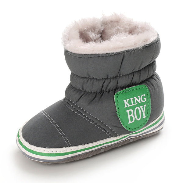 Baby Boys Letter Printed Zipper Winter Fur Snow Boots Wholesale Baby Shoes