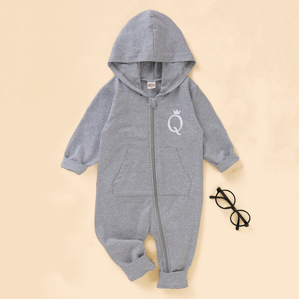 Baby Letter Q Long Sleeve Hooded Zipper Romper Baby Clothing Wholesale Distributors