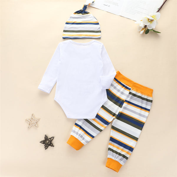 Baby Boys Letter Romper & Striped Pants & Hat Buy Baby Clothes Wholesale