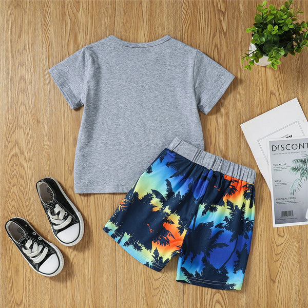 Boys Letter Shark Printed Short Sleeve Top & Shorts childrens wholesale clothing