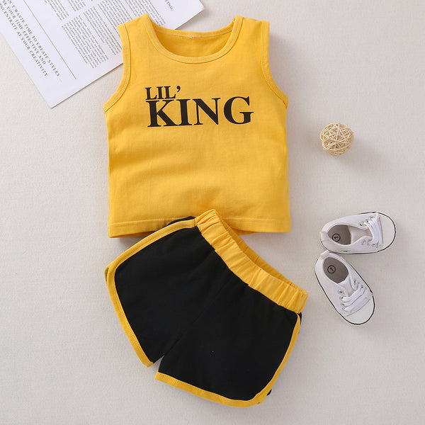 Baby Boys Letter Sleeveless Top & Shorts baby boy clothes wholesale