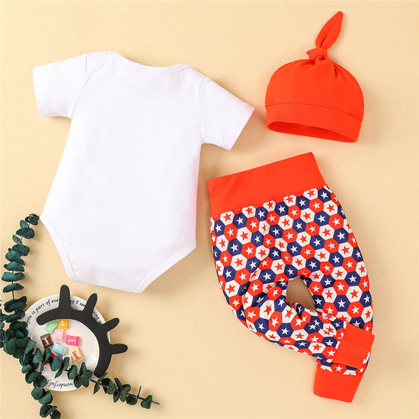 Baby Unisex Letter Star Printed Short Sleeve Romper & Pants & Hat baby clothes wholesale usa