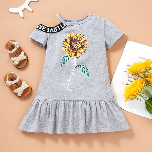 Girls Letter Sunshine Sunflower Printed Short Sleeve Dress wholesale kids boutique clothing