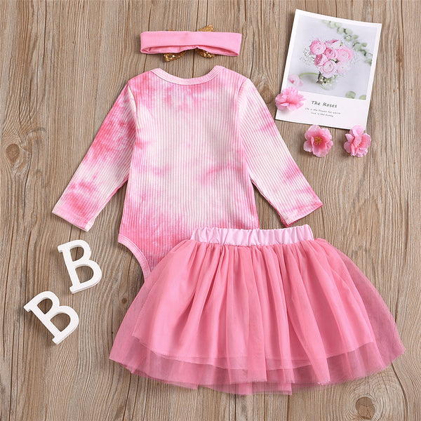 Baby Girls Letter Tie Dye Romper & Bow Decor Skirt Baby Clothing In Bulk