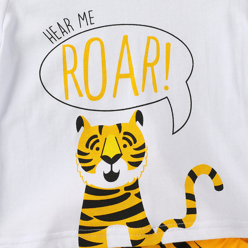 Baby Unisex Letter Tiger Printed Short Sleeve Top & Shorts Baby Clothing Wholesale Distributors