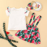 Girls Letter Watermelon Printed Short Sleeve Top & Suspender Skirt & Headband wholesale kids clothing