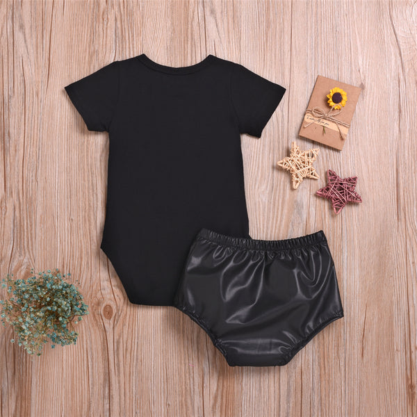 Baby Lil Miss Short Sleeve Romper & PU Shorts Wholesale Baby Items