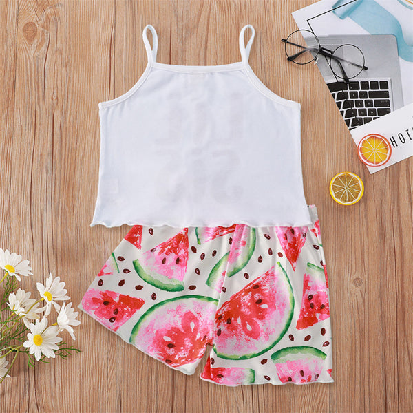 Girls Lil Sis Printed Sling Top & Watermelon Printed Shorts wholesale childrens clothing
