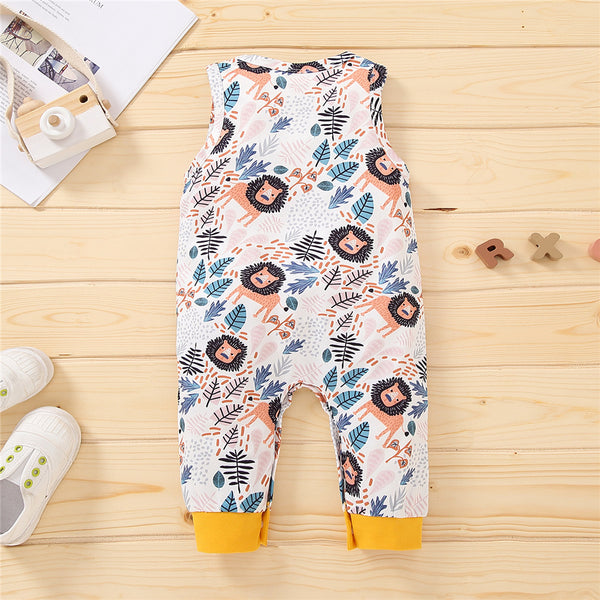 Baby Boys Lion Leaves Printed Sleeveless Romper baby clothes vendors