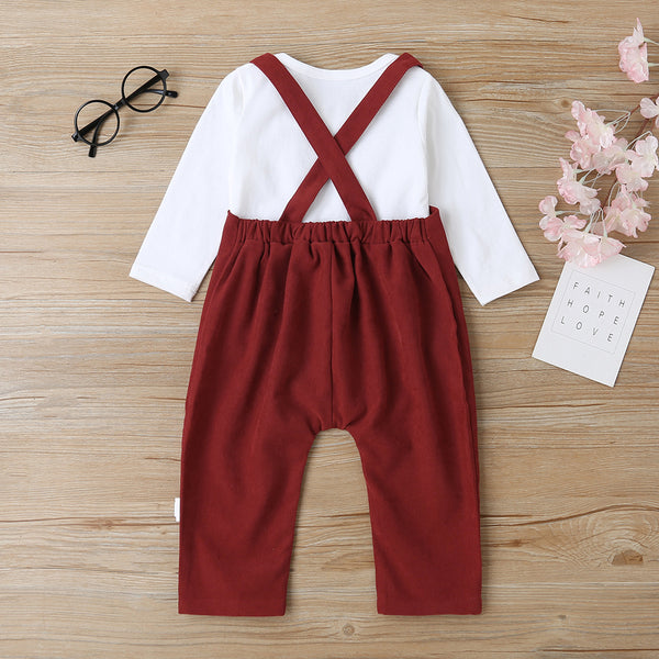 Baby Little Dude Long Sleeve Romper & Solid Overalls Baby Clothing Wholesale