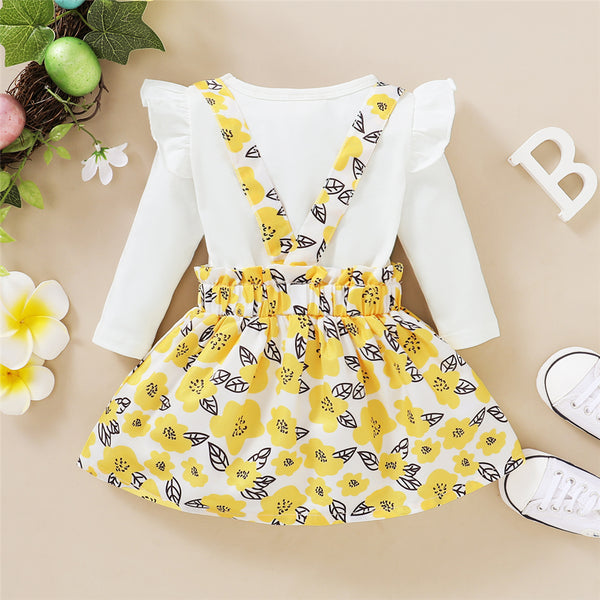 Baby Girls Little Miss Sassy Pants Long Sleeve Top & Flower Suspender Skirt Baby Clothing Cheap Wholesale