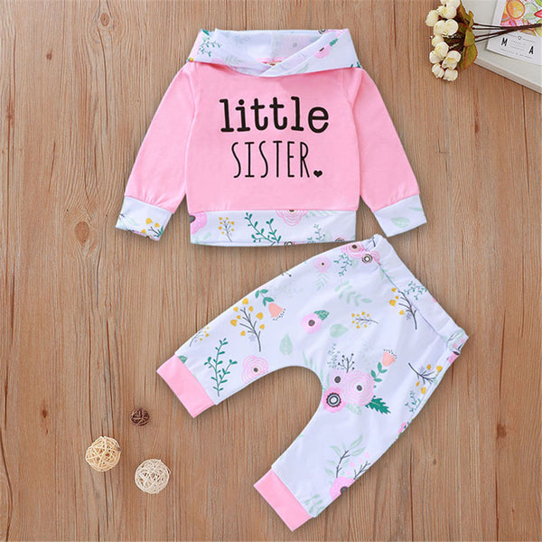 Baby Litter Sister Floral Hooded Top & Bottoms Baby Clothing Warehouse