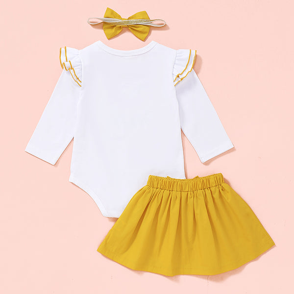 Baby Little Sister Ruffled Long Sleeve Romper & Solid Skirt & Headband Baby Outfits