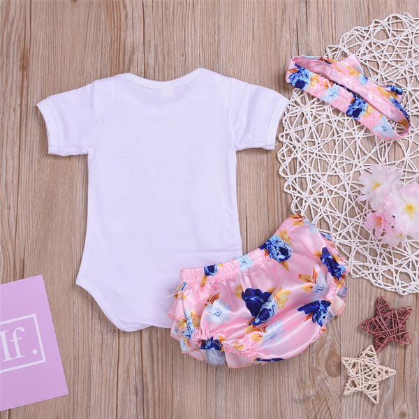 Baby Little Sister Short Sleeve Romper & Floral Shorts & Headband Baby Clothes Vendors