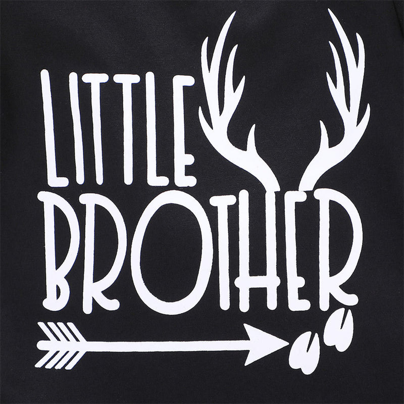 Baby Boy Little Brother Antlers Printed Short Sleeve Romper Cheap Boutique Baby Clothing
