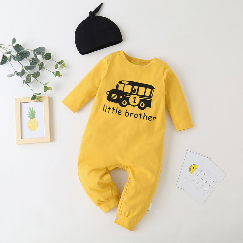 Baby Little Brother Printed Car Long Sleeve Romper & Hat