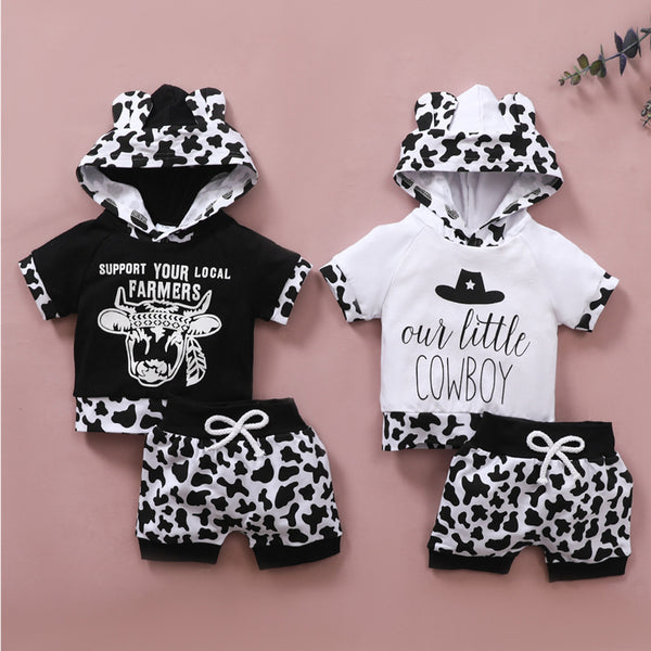 Baby Little Cowboy Printed Hooded Short Sleeve Top & Shorts Baby Outfits