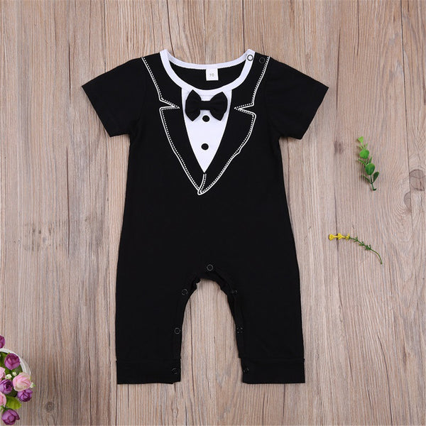 Baby Boys Little Gentleman Short Sleeve Tie Romper baby clothes wholesale usa