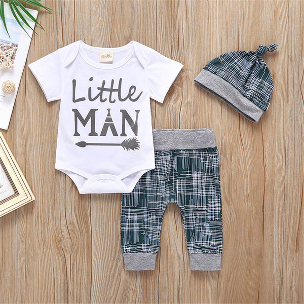 Baby Little Man Printed Short Sleeve Romper & Pants & Hat Baby Boutique Clothing Wholesale