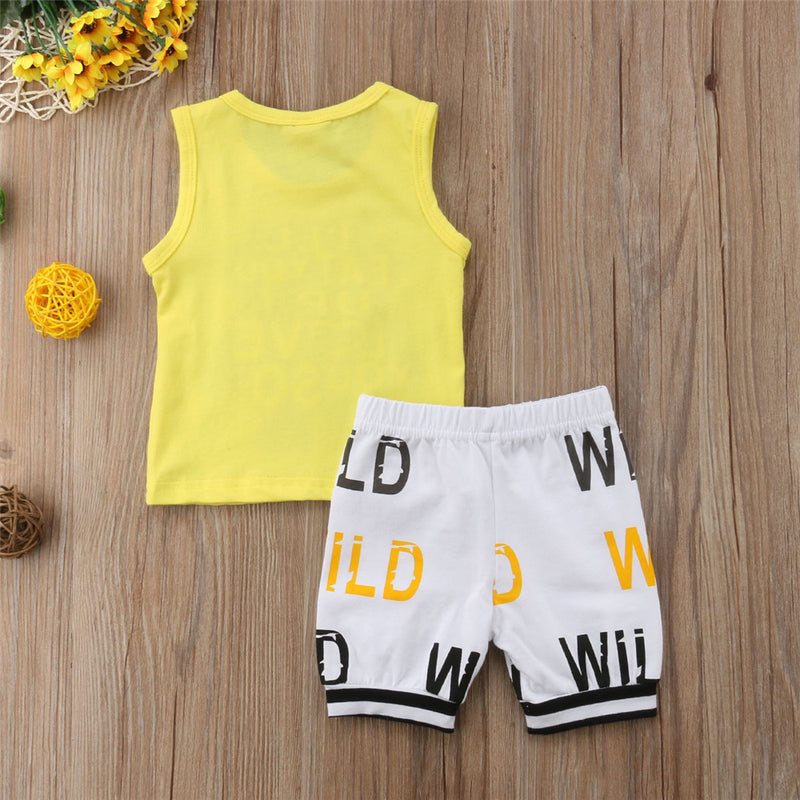 Baby Boys Little Monster Letter Printed Top & Shorts Bulk Baby Clothes For Sale