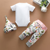 Baby Little Sister Short Sleeve Romper & Floral Pants & Hat Bulk Baby Clothes Online