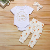 Baby Little Sister Short Sleeve Romper & Floral Trousers & Headband Wholesale Baby Boutique Items