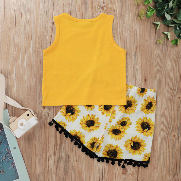 Girls Live In The Sunshine Printed Sleeveless Top & Sunflower Shorts wholesale childrens clothing online