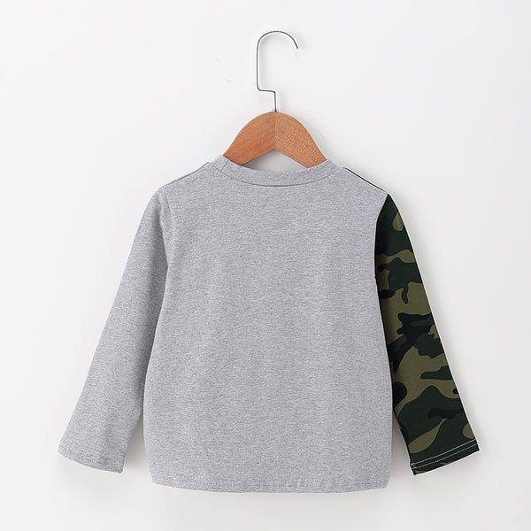 Boys Long-Sleeve Camo Printed Pocket Top Wholesale Clothing Baby