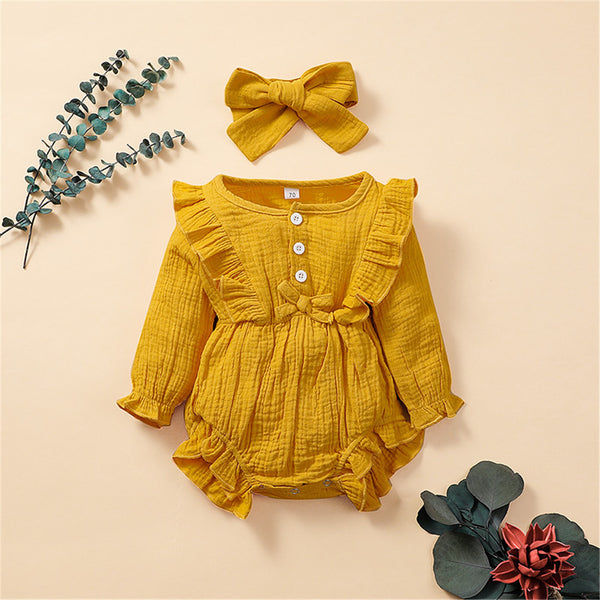 Baby Girls Long-Sleeve Solid Ruffle Bow Romper Baby Boutique Clothes Wholesale