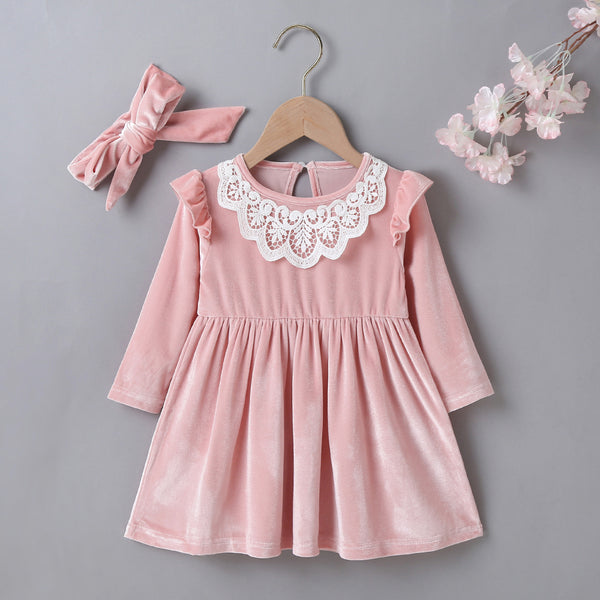 Baby Girls Long-sleeve Casual Dress & Headband wholesale little girl clothing