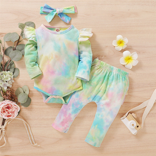 Baby Girls Long-sleeve Tie Dye Romper & Pants