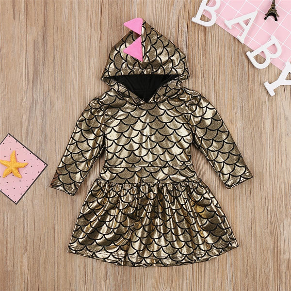 Girls Long Sleeve 3D Dinosaur Hooded Dress