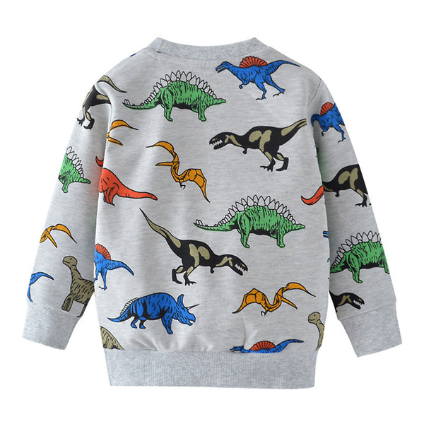 Boys Long Sleeve Animal Dinosaur Printed T-shirt